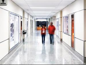 FSI Education commercial flooring for university hallway UT Jackson School of Geosciences at J.J. Pickle