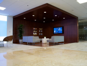 FSI commercial Stone & wood Floor meeting & seating Charles Schwab project